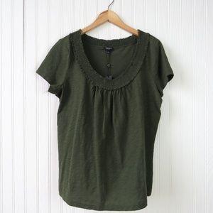 NEW Talbots Short Sleeve Smocked Tshirt